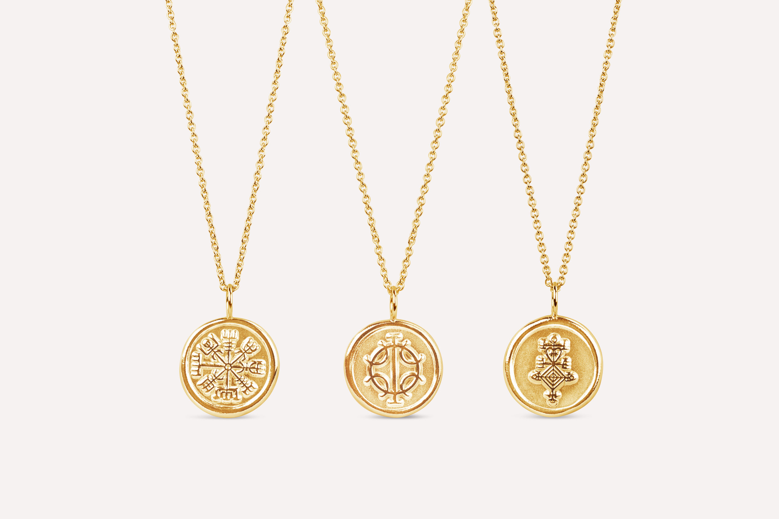 Gold icelandic magic stave necklaces