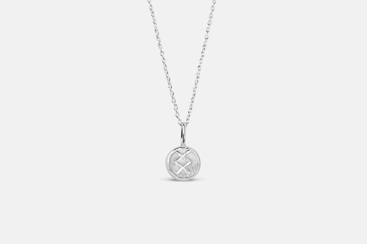 Fertility charm necklace sterling silver ingwaz futhark rune